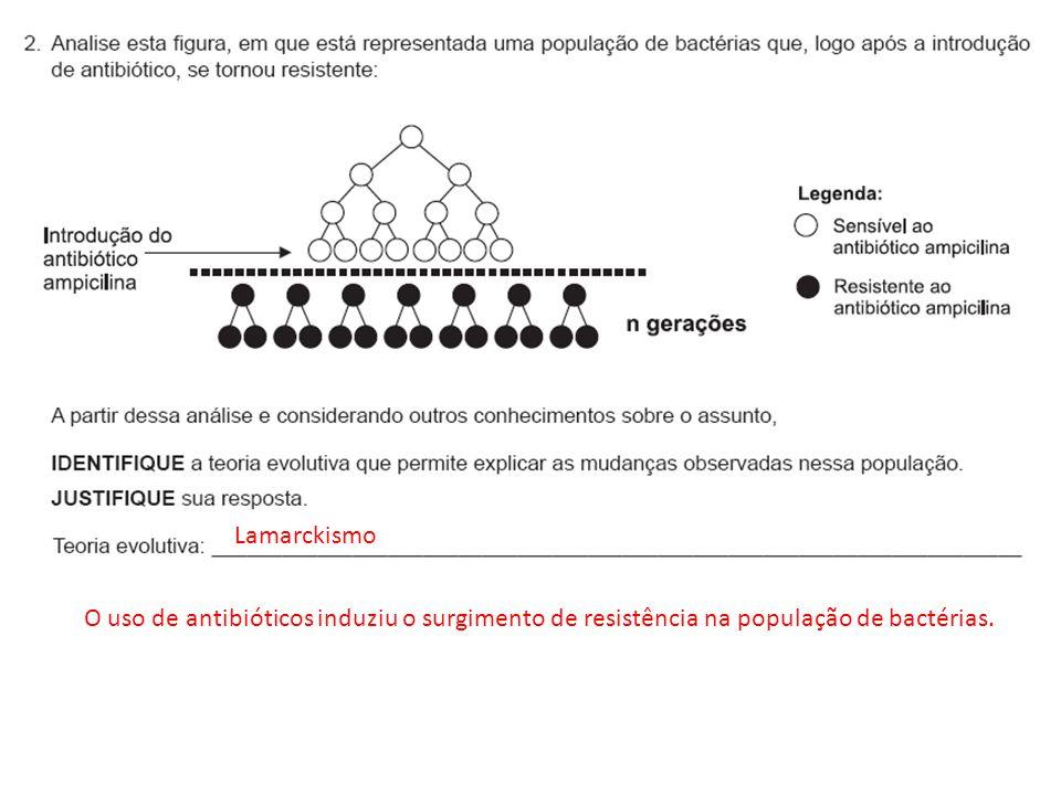 Lamarckismo O uso de antibióticos induziu o surgimento de resistência na população de bactérias.