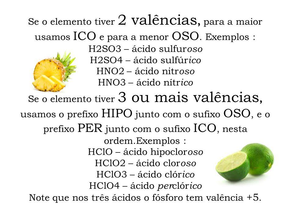 HClO – ácido hipocloroso HClO2 – ácido cloroso HClO3 – ácido clórico