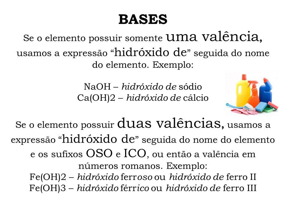 BASES Se o elemento possuir somente uma valência, usamos a expressão hidróxido de seguida do nome do elemento. Exemplo: