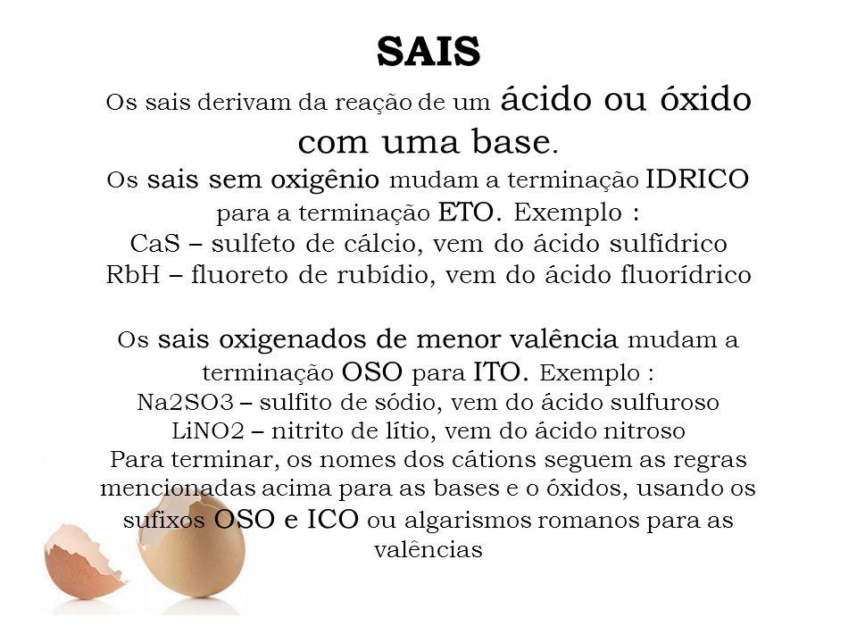 SAIS CaS – sulfeto de cálcio, vem do ácido sulfídrico