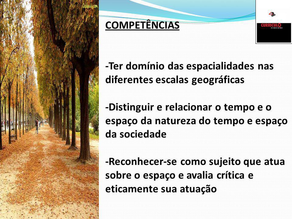 COMPETÊNCIAS -Ter domínio das espacialidades nas diferentes escalas geográficas.