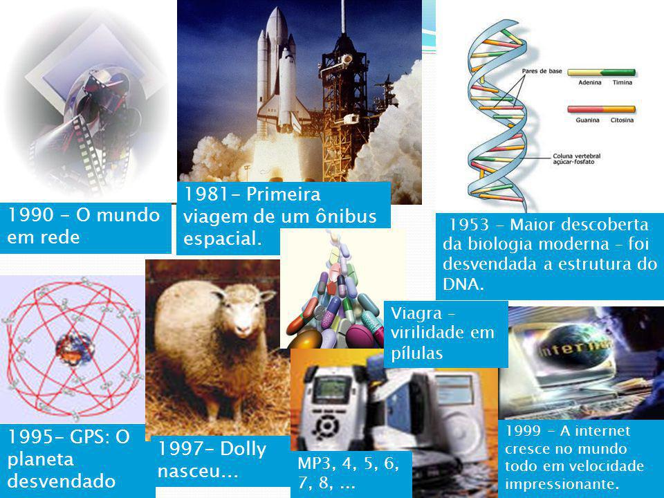 1981- Primeira viagem de um ônibus espacial. 1990 - O mundo em rede