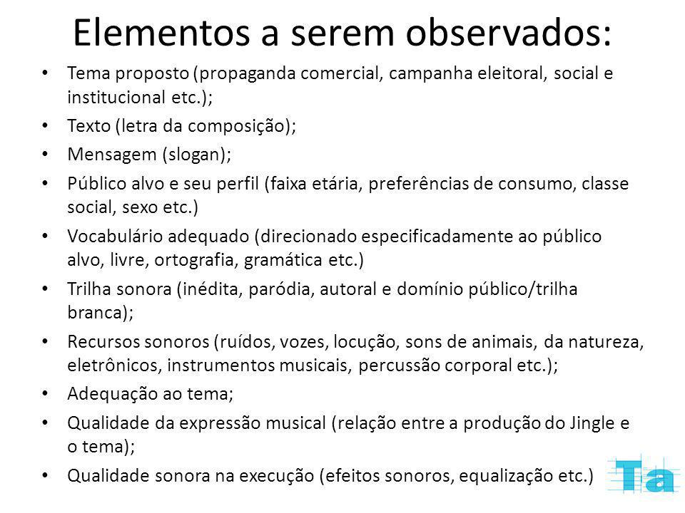 Elementos a serem observados:
