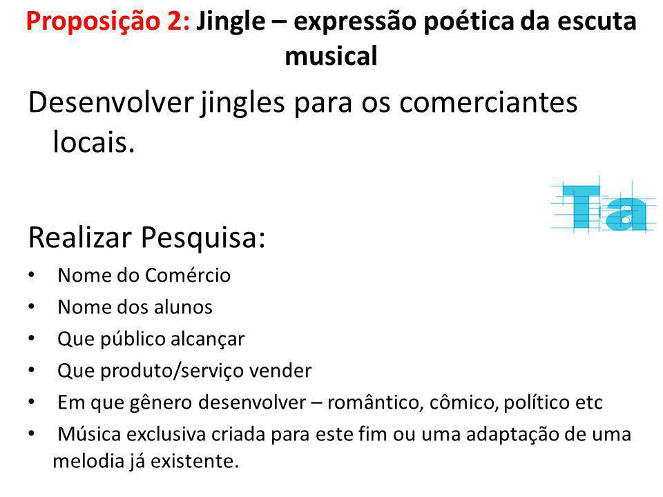 Proposição 2: Jingle – expressão poética da escuta musical
