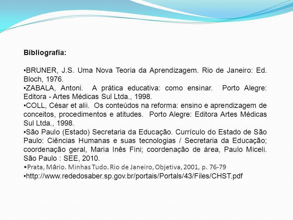Bibliografia: BRUNER, J.S. Uma Nova Teoria da Aprendizagem. Rio de Janeiro: Ed. Bloch, 1976.