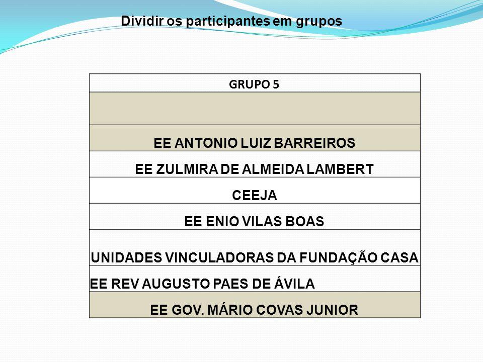 Dividir os participantes em grupos GRUPO 5 EE ANTONIO LUIZ BARREIROS