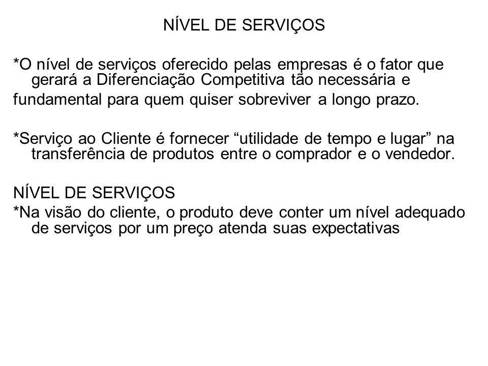 NÍVEL DE SERVIÇOS *O nível de serviços oferecido pelas empresas é o fator que gerará a Diferenciação Competitiva tão necessária e.