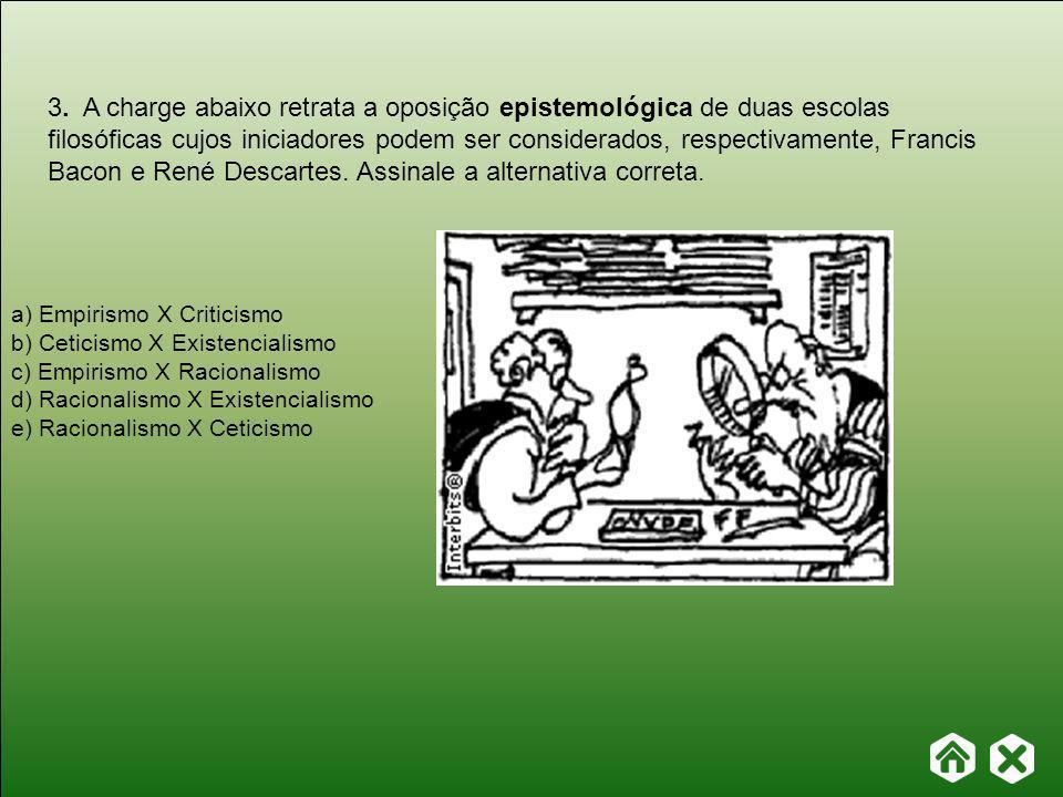 3. A charge abaixo retrata a oposição epistemológica de duas escolas filosóficas cujos iniciadores podem ser considerados, respectivamente, Francis Bacon e René Descartes. Assinale a alternativa correta.