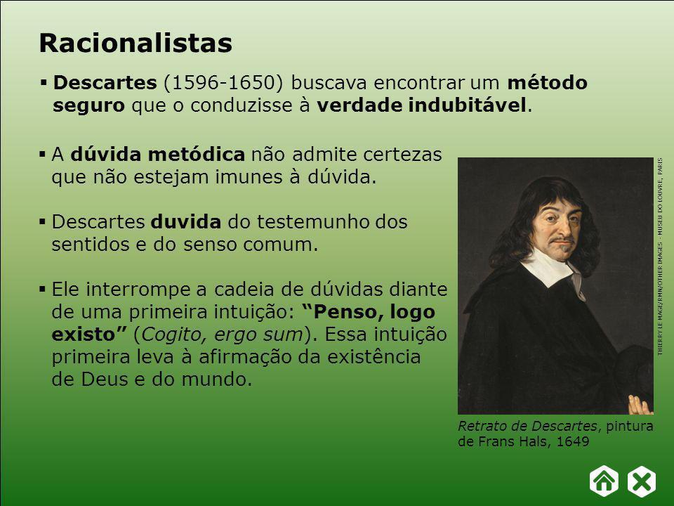 Racionalistas Descartes (1596-1650) buscava encontrar um método seguro que o conduzisse à verdade indubitável.