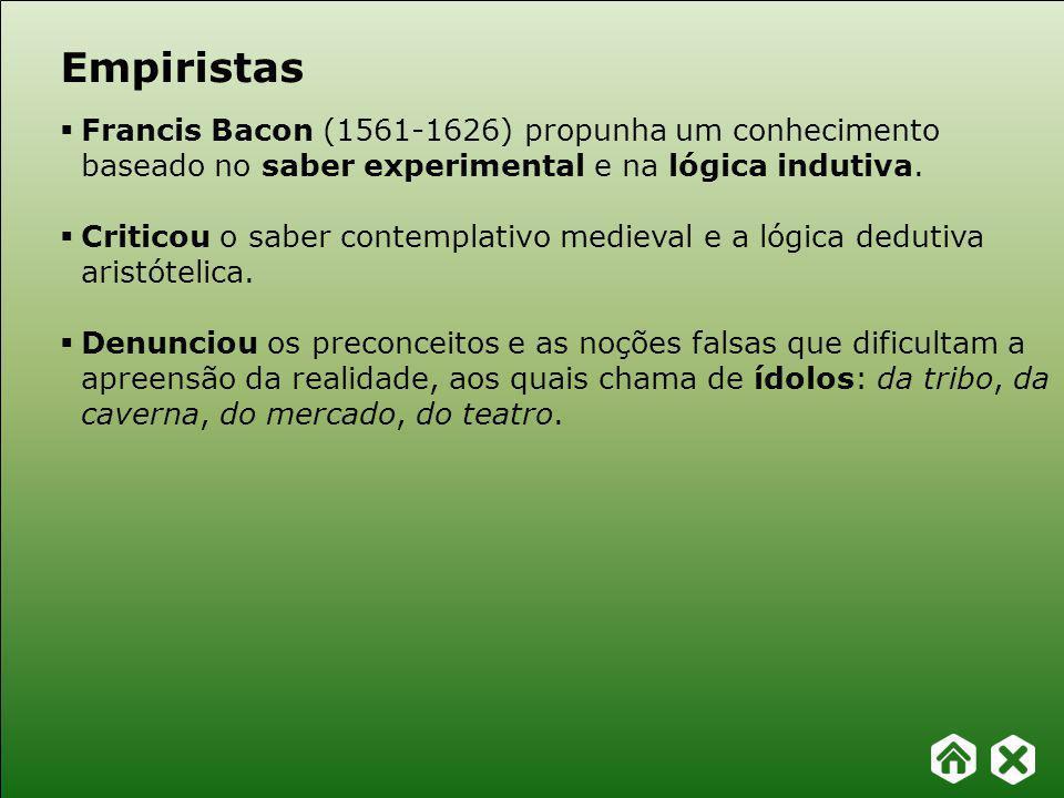 Empiristas Francis Bacon (1561-1626) propunha um conhecimento baseado no saber experimental e na lógica indutiva.