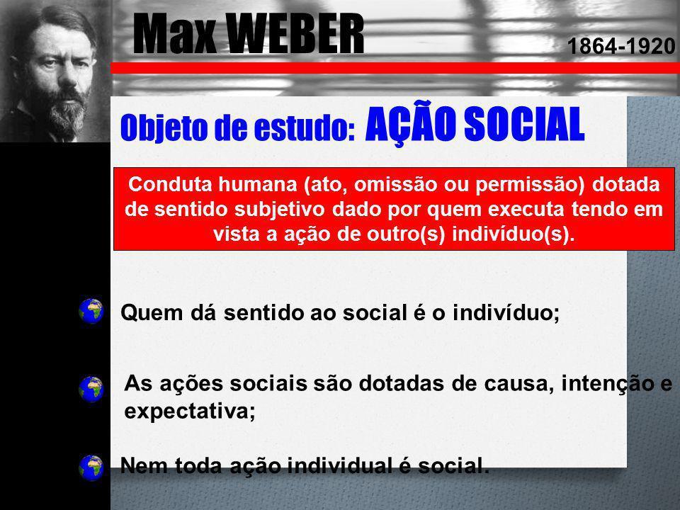 Max WEBER Objeto de estudo: AÇÃO SOCIAL 1864-1920