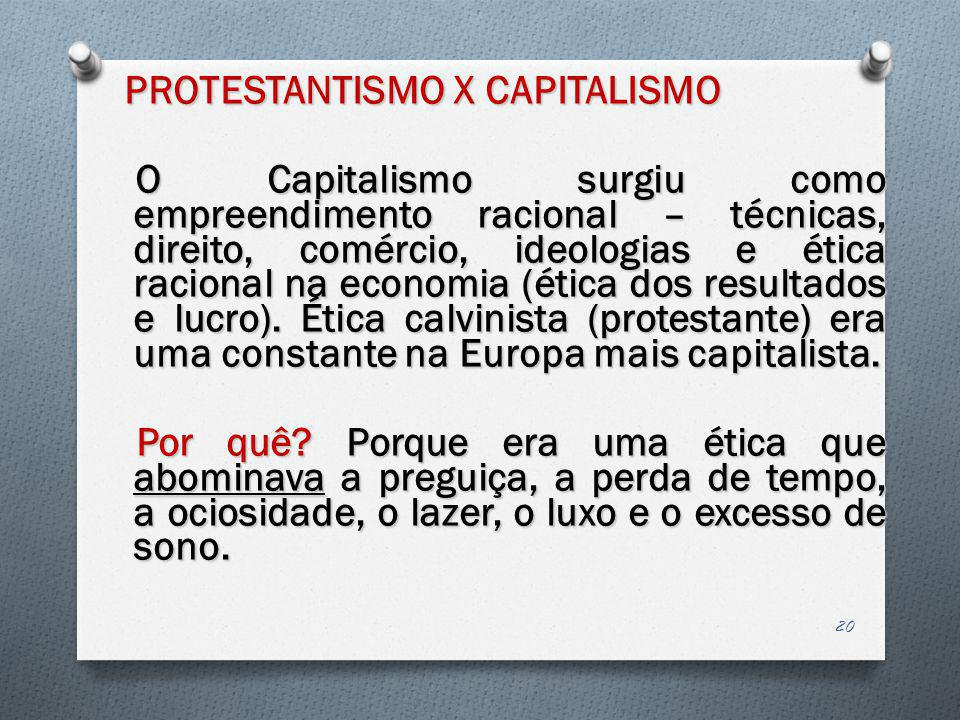 PROTESTANTISMO X CAPITALISMO