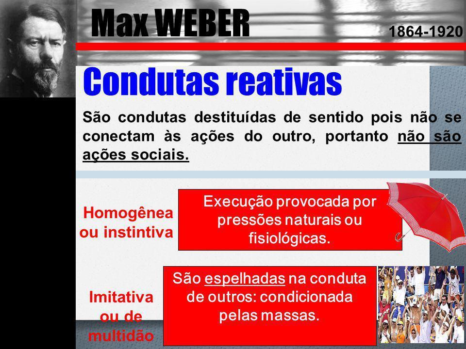 Max WEBER Émile DURKHEIM Condutas reativas Homogênea ou instintiva