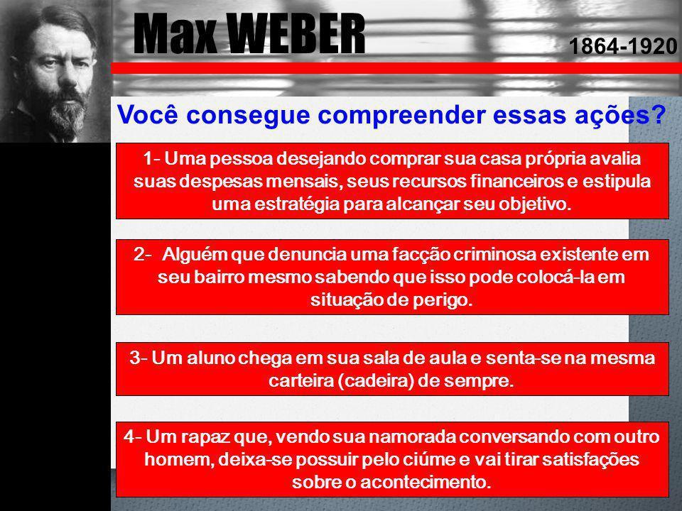 Max WEBER Você consegue compreender essas ações 1864-1920