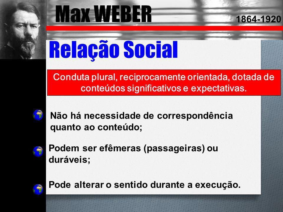 Max WEBER Relação Social 1864-1920