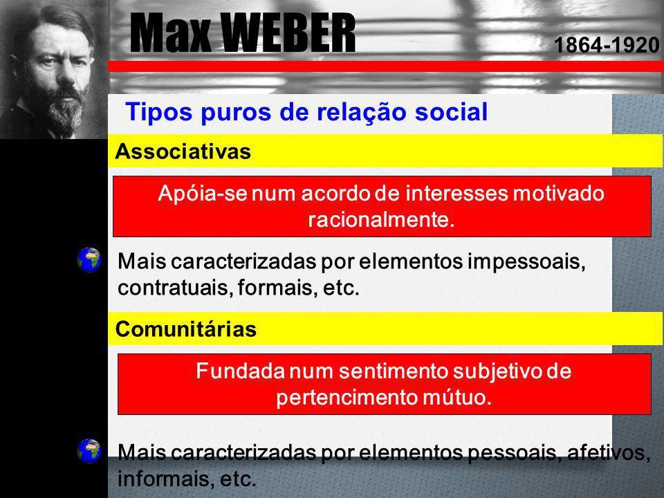 Max WEBER Tipos puros de relação social 1864-1920 Associativas