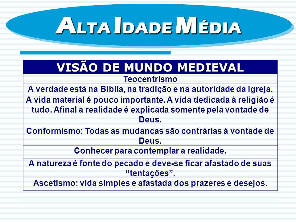 ALTA IDADE MÉDIA VISÃO DE MUNDO MEDIEVAL Teocentrismo