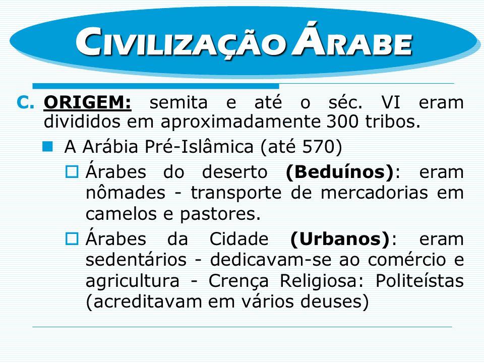 CIVILIZAÇÃO ÁRABE ORIGEM: semita e até o séc. VI eram divididos em aproximadamente 300 tribos. A Arábia Pré-Islâmica (até 570)