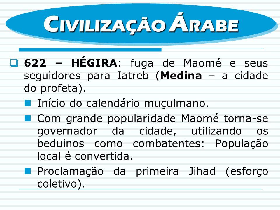 CIVILIZAÇÃO ÁRABE 622 – HÉGIRA: fuga de Maomé e seus seguidores para Iatreb (Medina – a cidade do profeta).