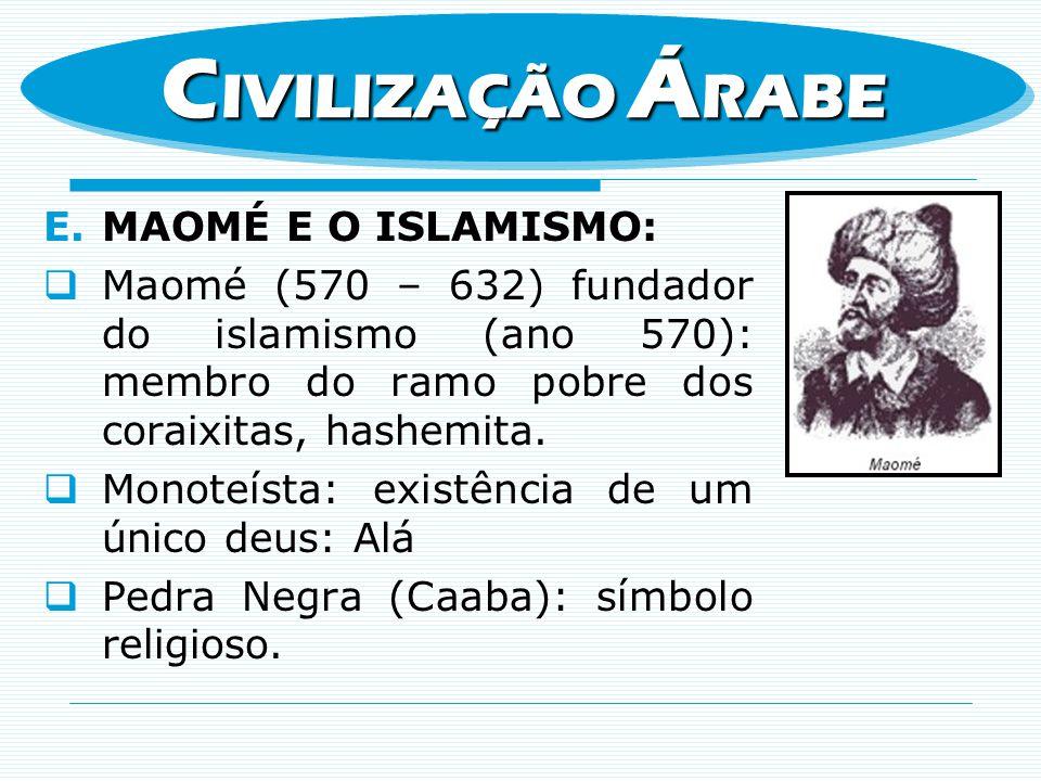 CIVILIZAÇÃO ÁRABE MAOMÉ E O ISLAMISMO: