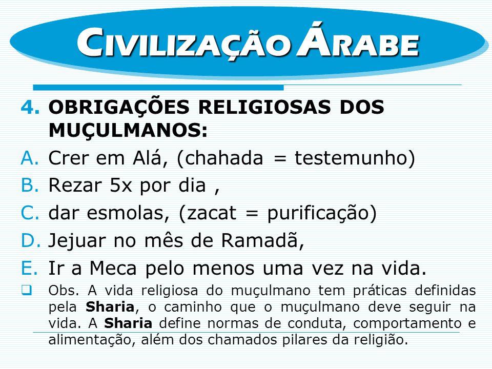 CIVILIZAÇÃO ÁRABE OBRIGAÇÕES RELIGIOSAS DOS MUÇULMANOS: