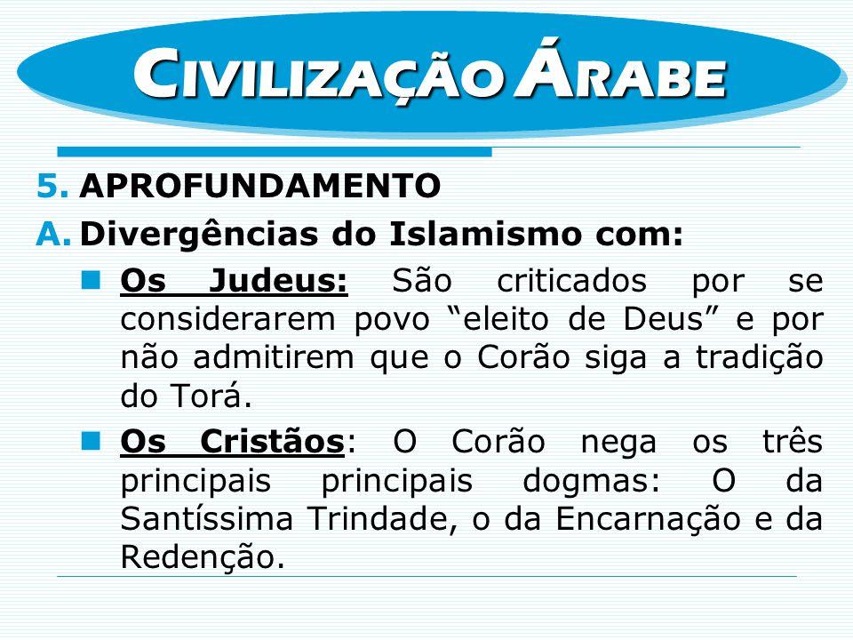 CIVILIZAÇÃO ÁRABE APROFUNDAMENTO Divergências do Islamismo com:
