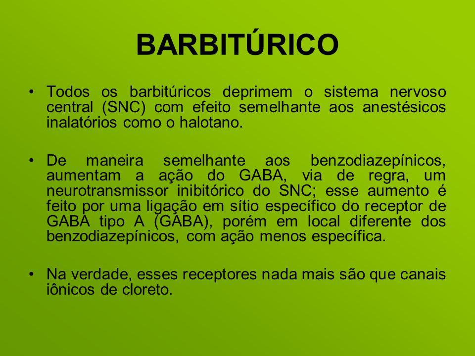 BARBITÚRICO Todos os barbitúricos deprimem o sistema nervoso central (SNC) com efeito semelhante aos anestésicos inalatórios como o halotano.