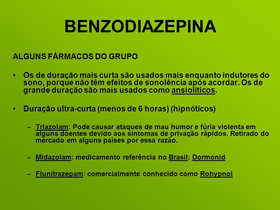 BENZODIAZEPINA ALGUNS FÁRMACOS DO GRUPO