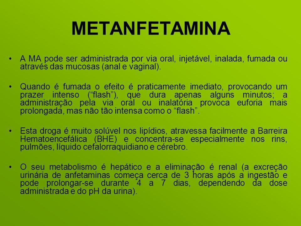 METANFETAMINA A MA pode ser administrada por via oral, injetável, inalada, fumada ou através das mucosas (anal e vaginal).