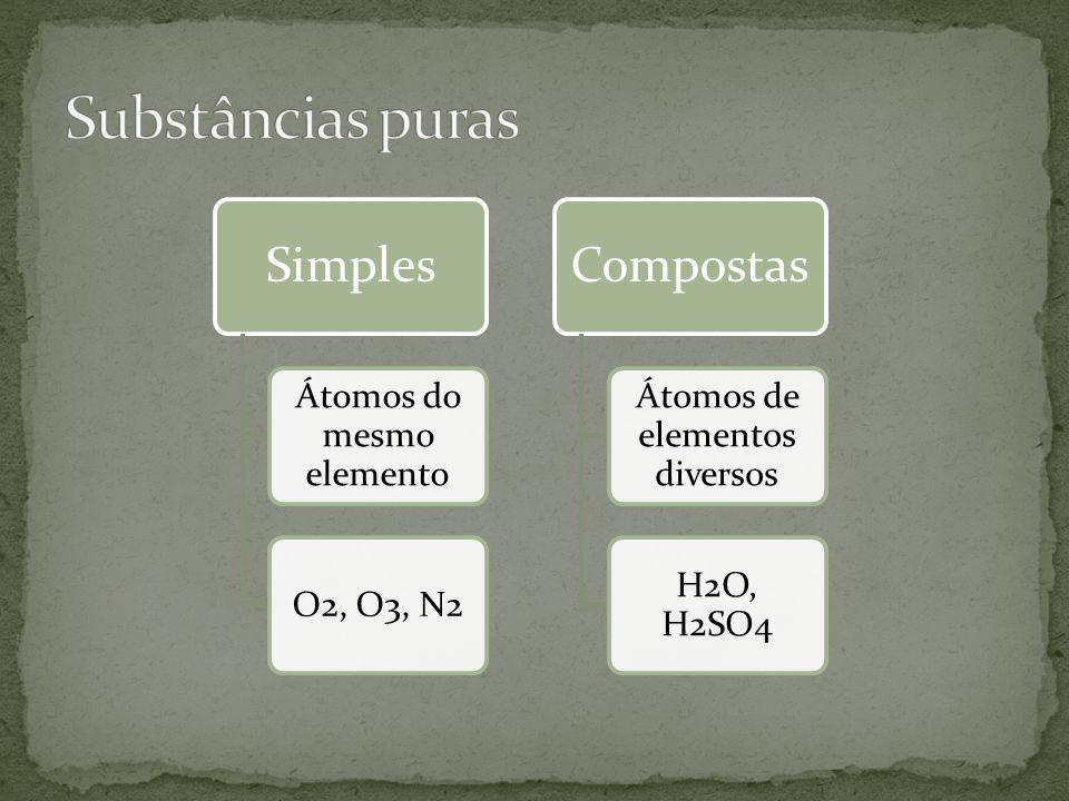 Substâncias puras Simples Átomos do mesmo elemento O2, O3, N2
