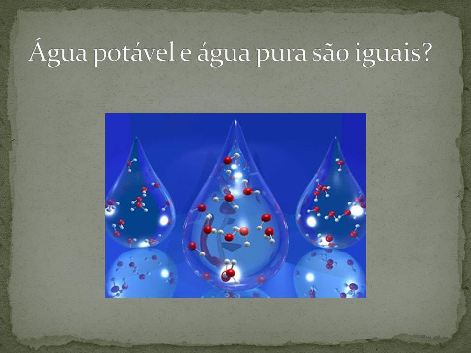 Água potável e água pura são iguais