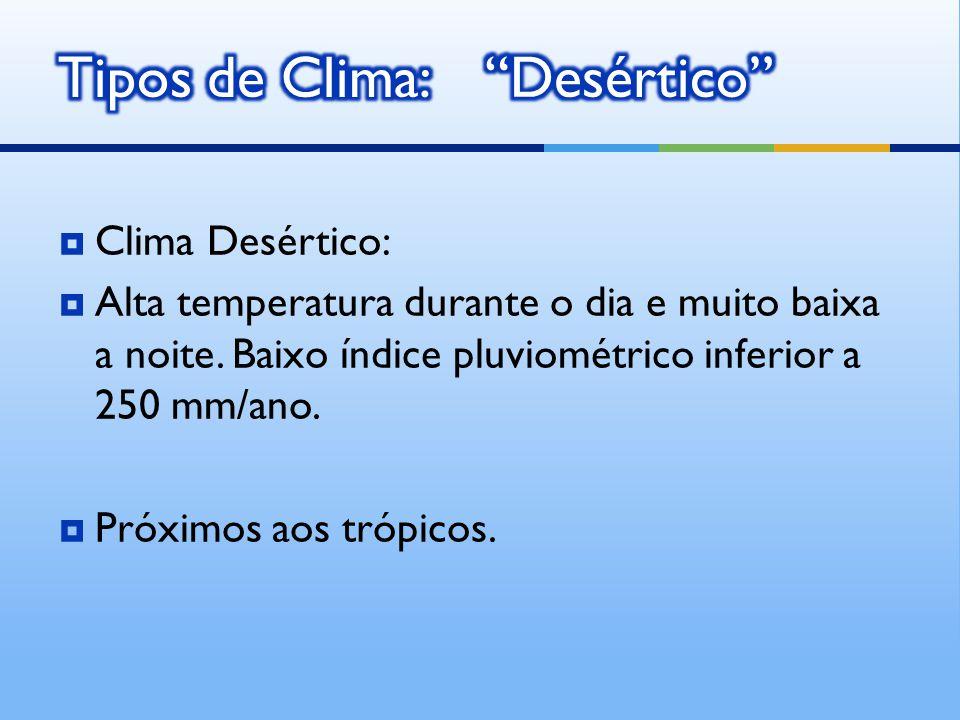 Tipos de Clima: Desértico