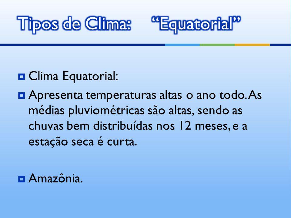 Tipos de Clima: Equatorial