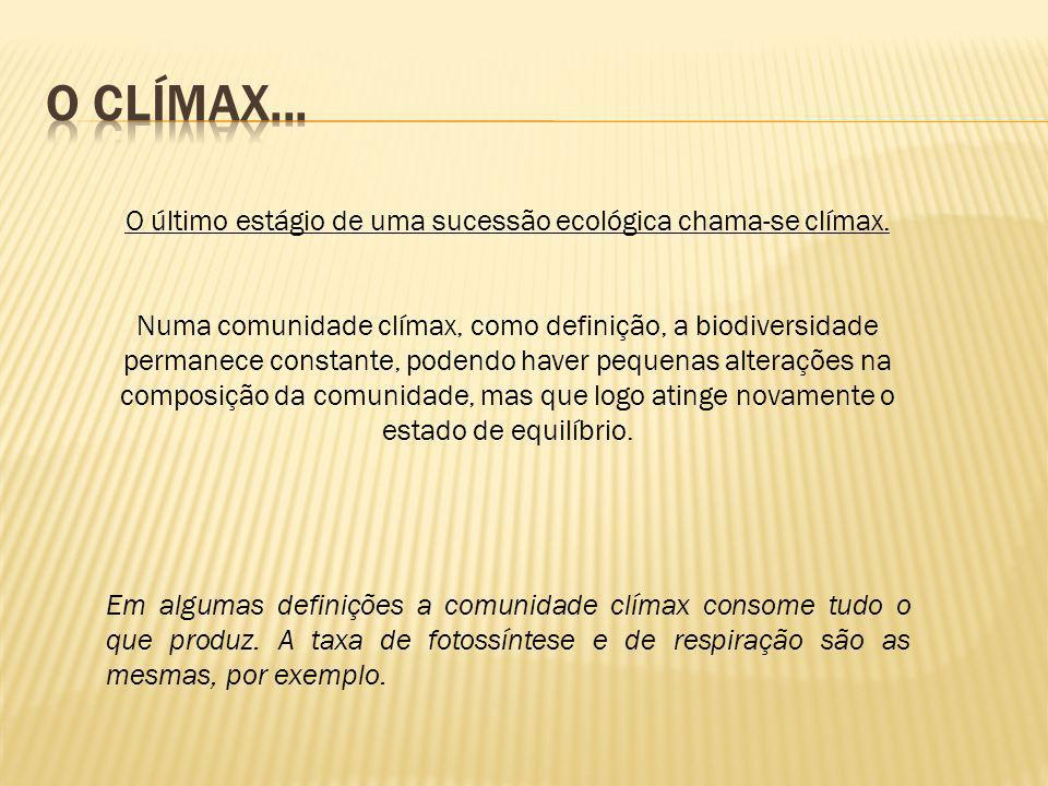 O último estágio de uma sucessão ecológica chama-se clímax.