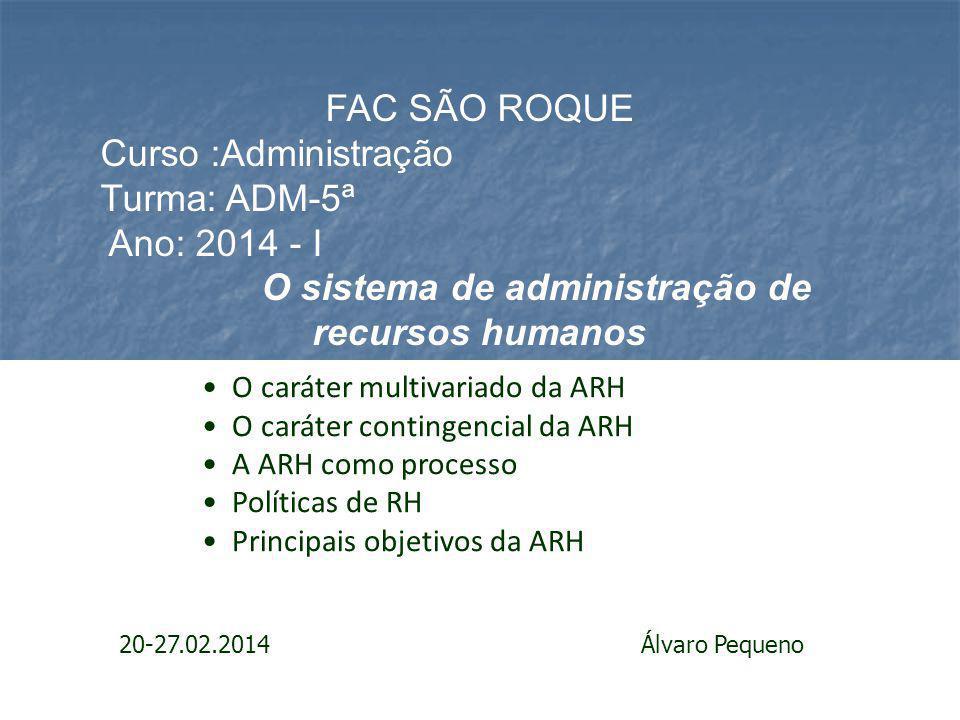 O sistema de administração de recursos humanos