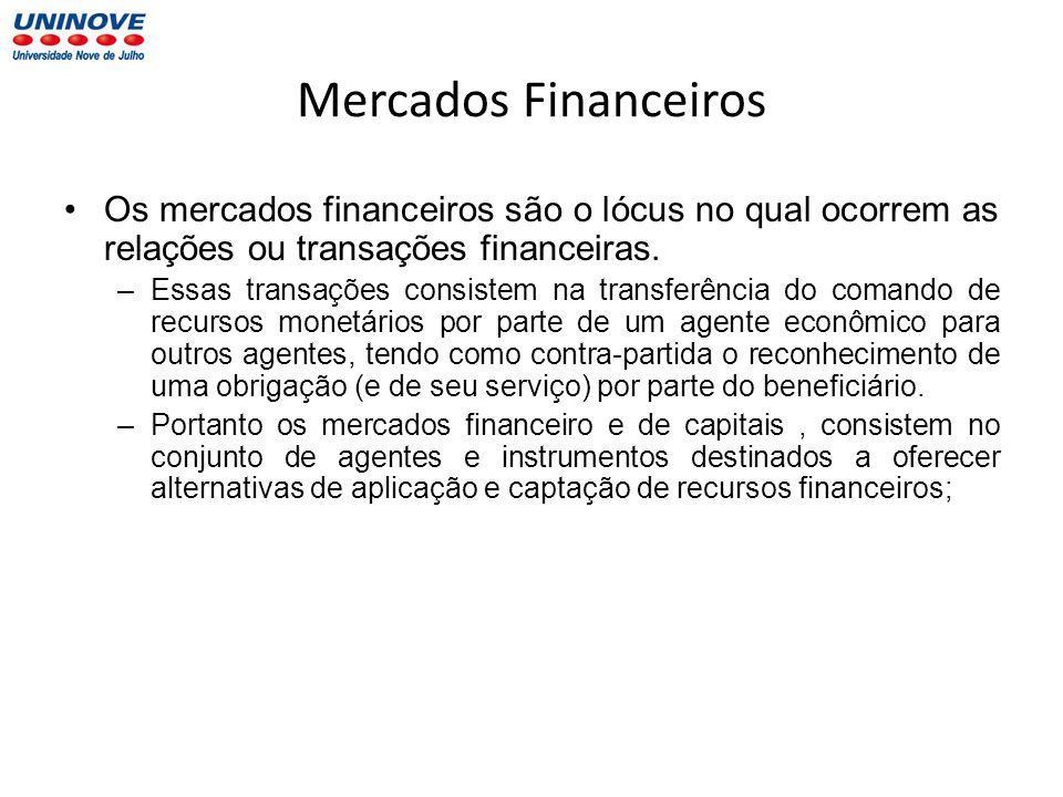 Mercados Financeiros Os mercados financeiros são o lócus no qual ocorrem as relações ou transações financeiras.
