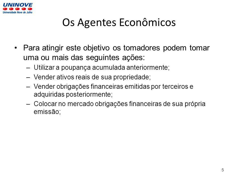Os Agentes Econômicos Para atingir este objetivo os tomadores podem tomar uma ou mais das seguintes ações:
