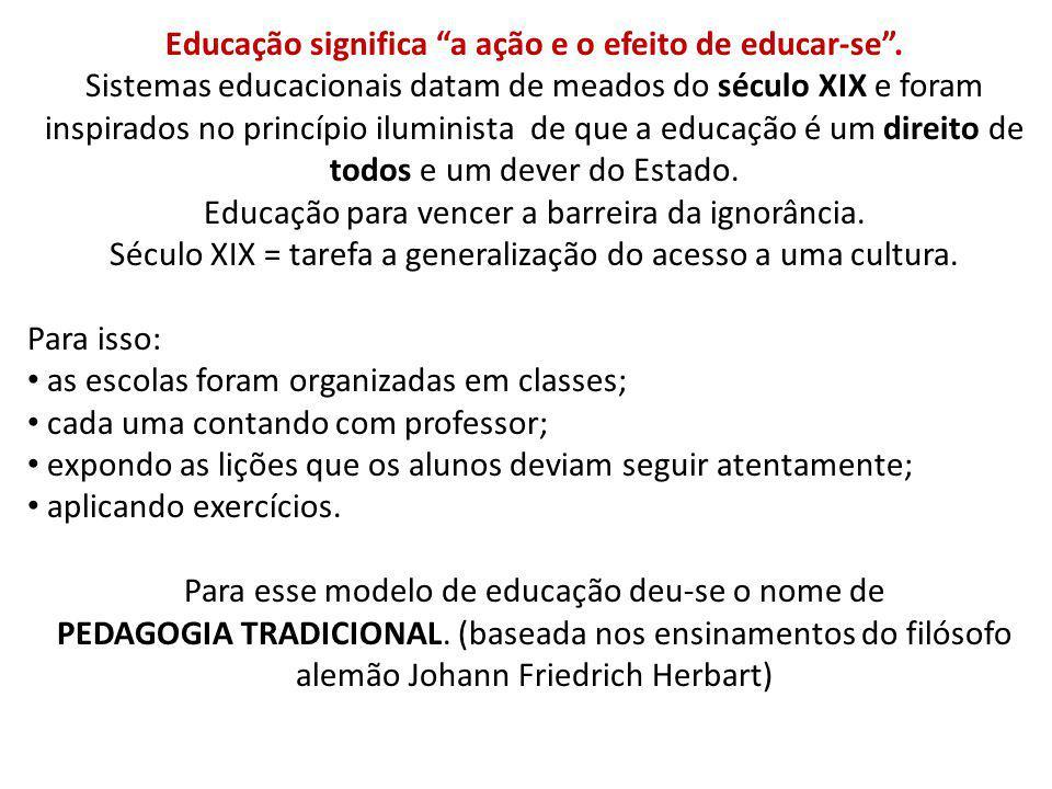 Educação significa a ação e o efeito de educar-se .