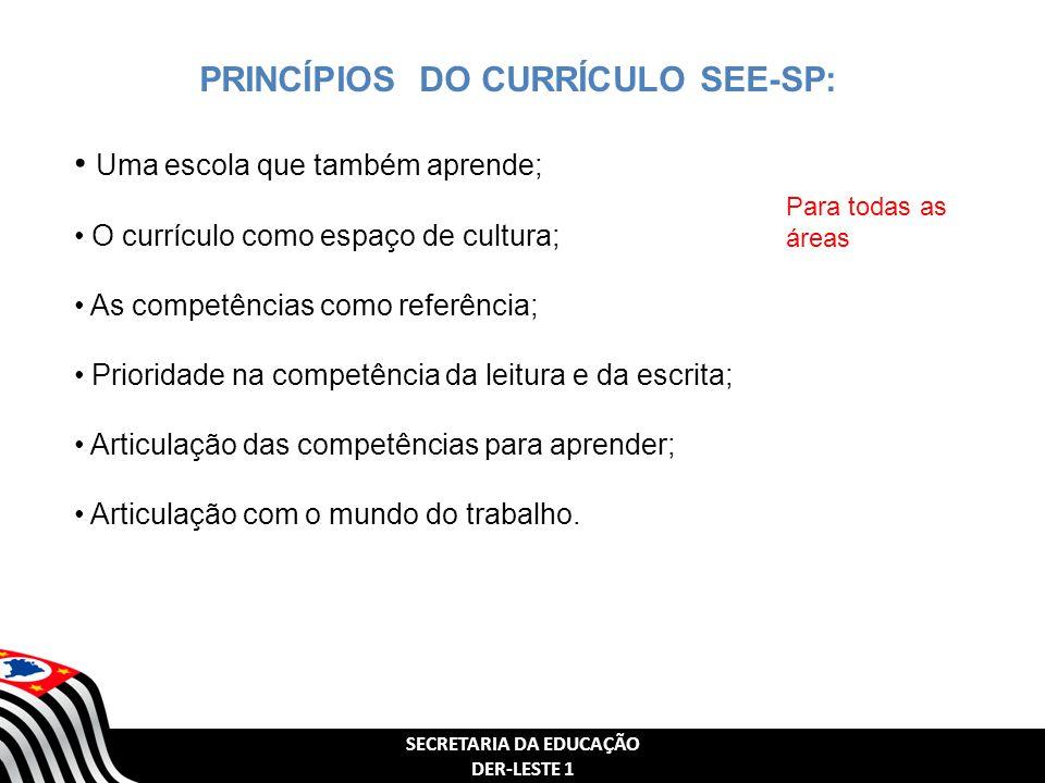 PRINCÍPIOS DO CURRÍCULO SEE-SP: SECRETARIA DA EDUCAÇÃO