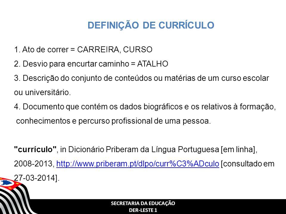 DEFINIÇÃO DE CURRÍCULO SECRETARIA DA EDUCAÇÃO