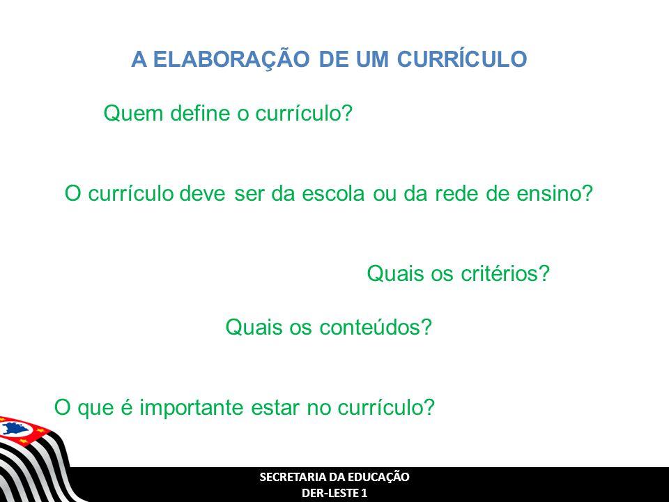 A ELABORAÇÃO DE UM CURRÍCULO SECRETARIA DA EDUCAÇÃO