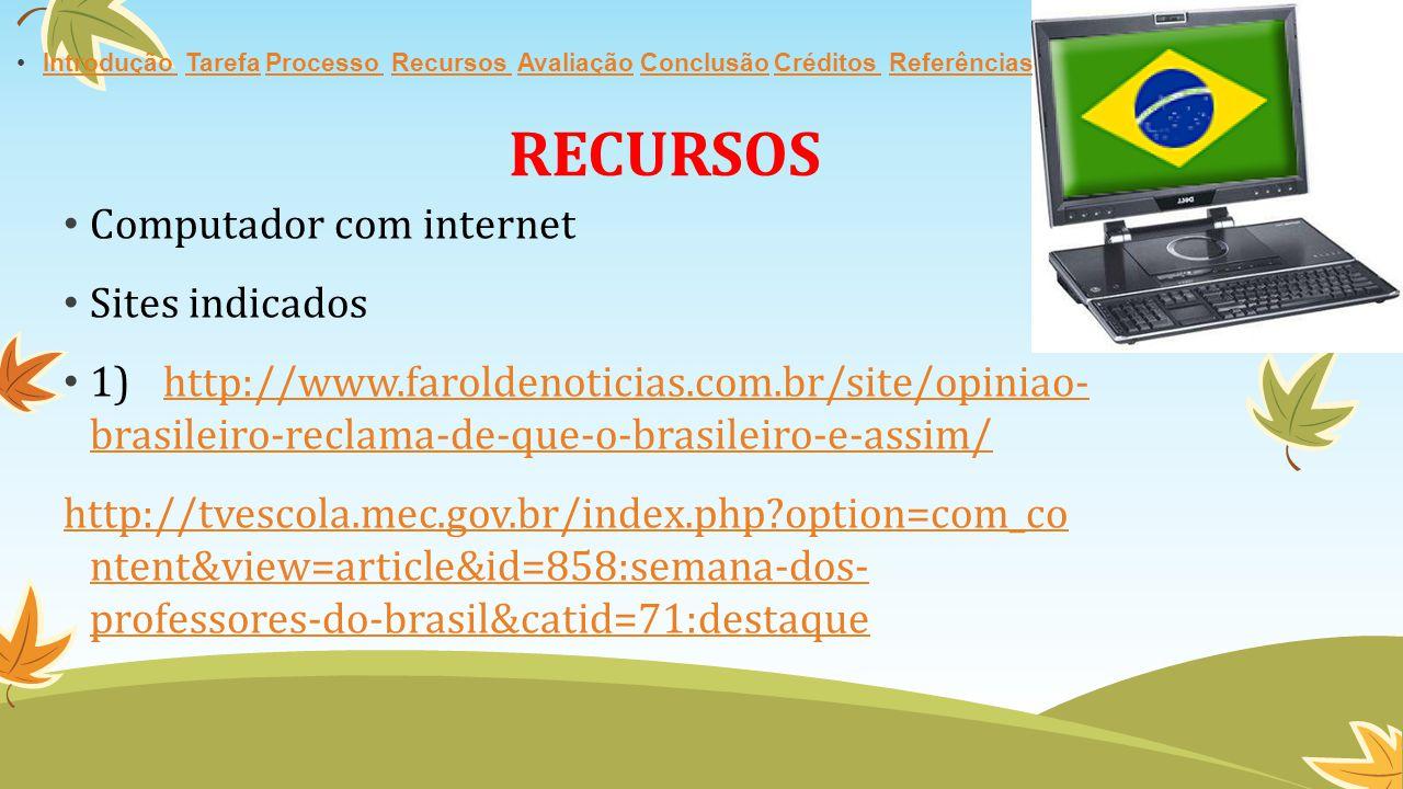 RECURSOS Computador com internet Sites indicados