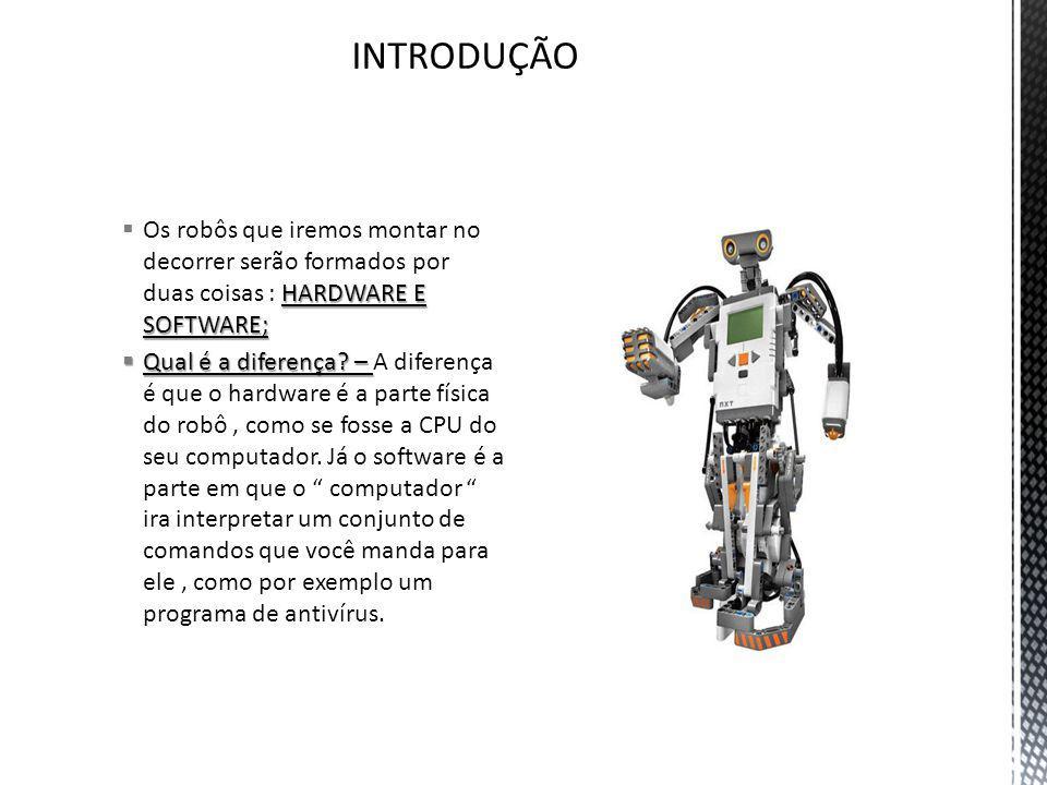INTRODUÇÃO Os robôs que iremos montar no decorrer serão formados por duas coisas : HARDWARE E SOFTWARE;