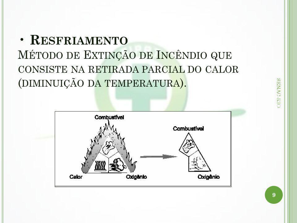• Resfriamento Método de Extinção de Incêndio que consiste na retirada parcial do calor (diminuição da temperatura).