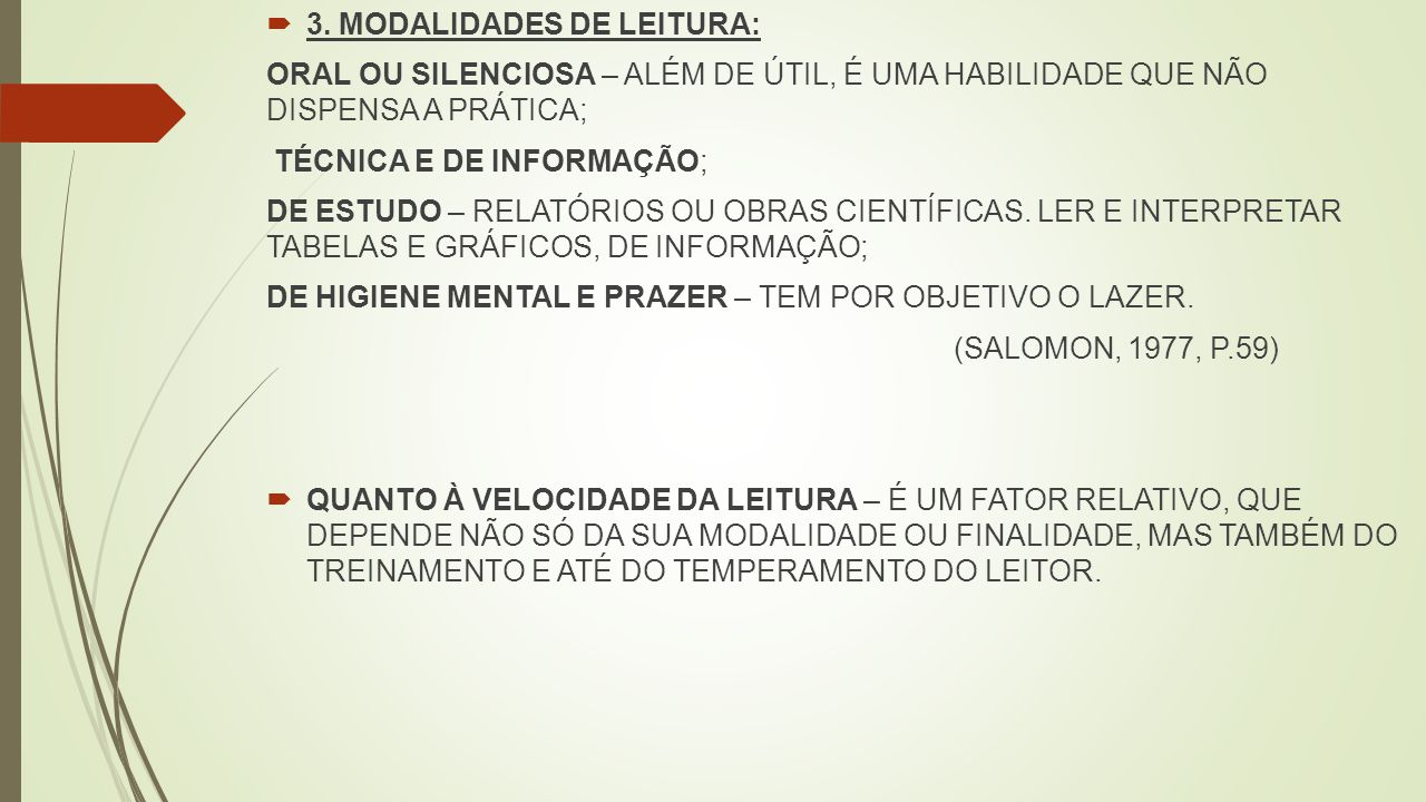 3. MODALIDADES DE LEITURA: