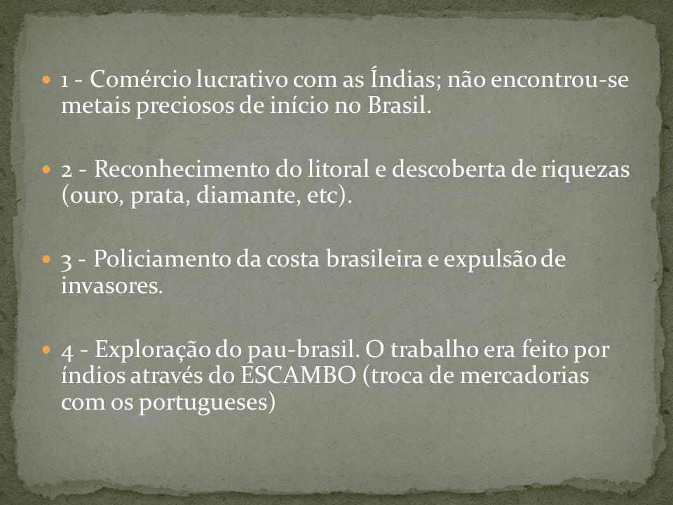 1 - Comércio lucrativo com as Índias; não encontrou-se metais preciosos de início no Brasil.
