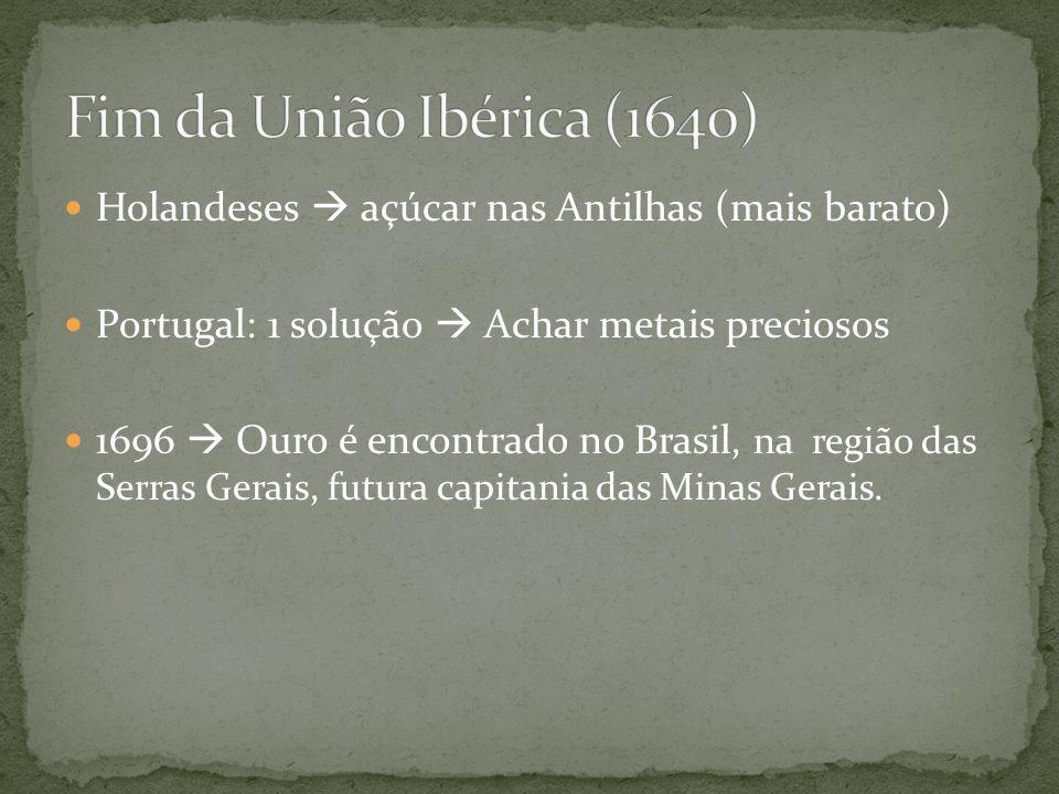 Fim da União Ibérica (1640) Holandeses  açúcar nas Antilhas (mais barato) Portugal: 1 solução  Achar metais preciosos.