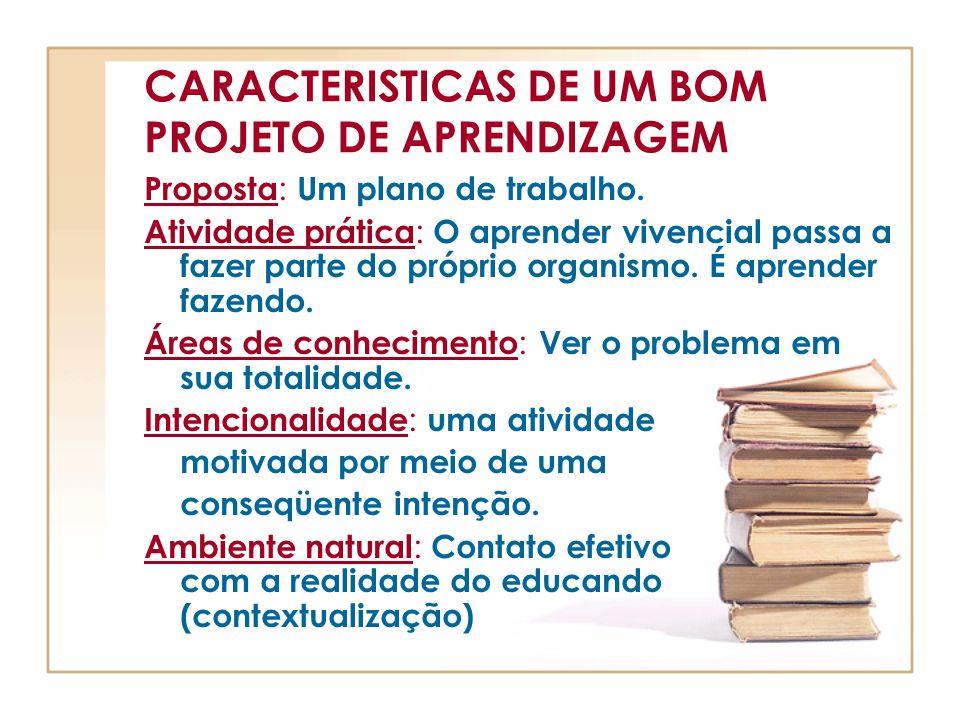 CARACTERISTICAS DE UM BOM PROJETO DE APRENDIZAGEM