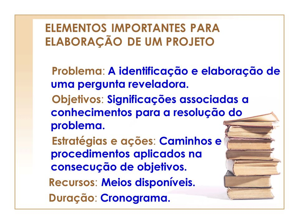 ELEMENTOS IMPORTANTES PARA ELABORAÇÃO DE UM PROJETO