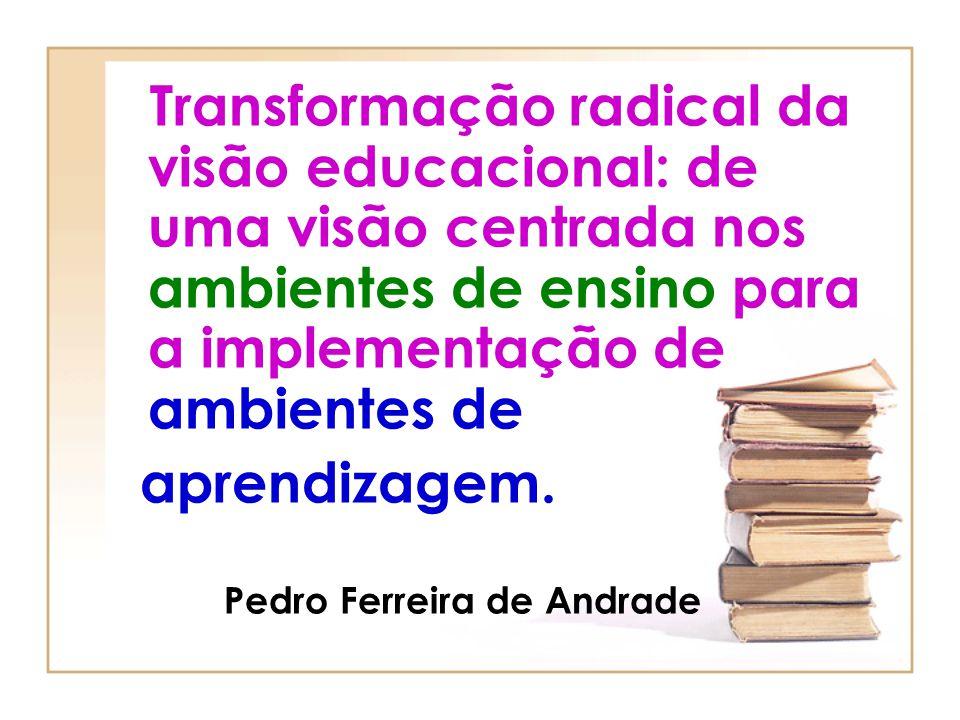 Transformação radical da visão educacional: de uma visão centrada nos ambientes de ensino para a implementação de ambientes de
